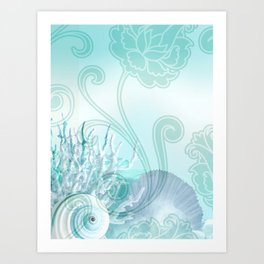SEASHELL DREAMS | blue Art Print