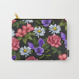 Flowers on Black Background, Original Art Carry-All Pouch