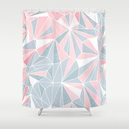 Cool blue/grey and pink geometric prism pattern Shower Curtain