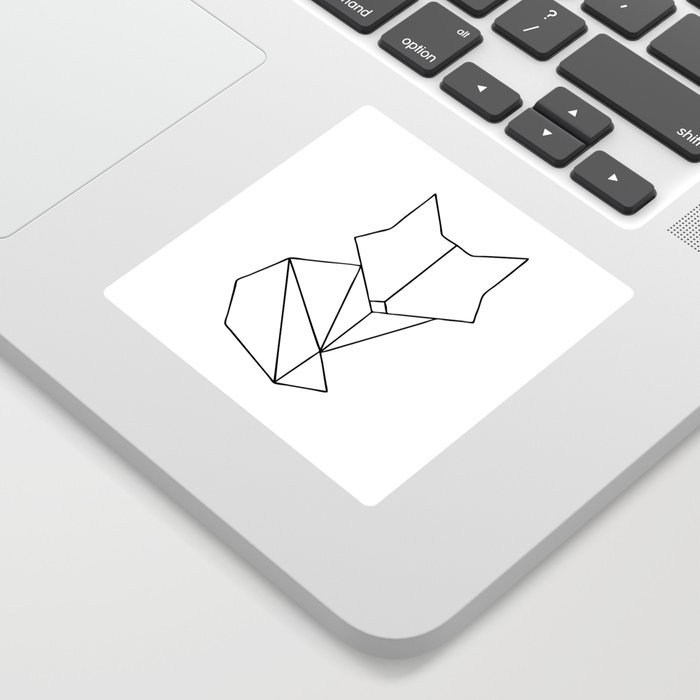 Geometric Fox - Black Sticker