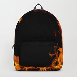 Fire flames on black Backpack