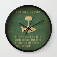 bright Wall Clocks featuring Einstein by Tracie Andrews