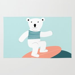 Polar bear surfing. Rug