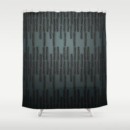 Eye of the Magpie tribal style pattern - dark teal Shower Curtain