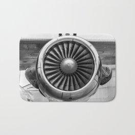 Vintage Airplane Turbine Engine Black and White Photography / black and white photographs Bath Mat