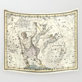 Constellations Bootes, Canes Venatici - Celestial Atlas Plate 7 Alexander Jamieson Wall Tapestry