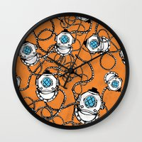 scuba Wall Clocks featuring Scuba Squad by Marc Weiss Designs