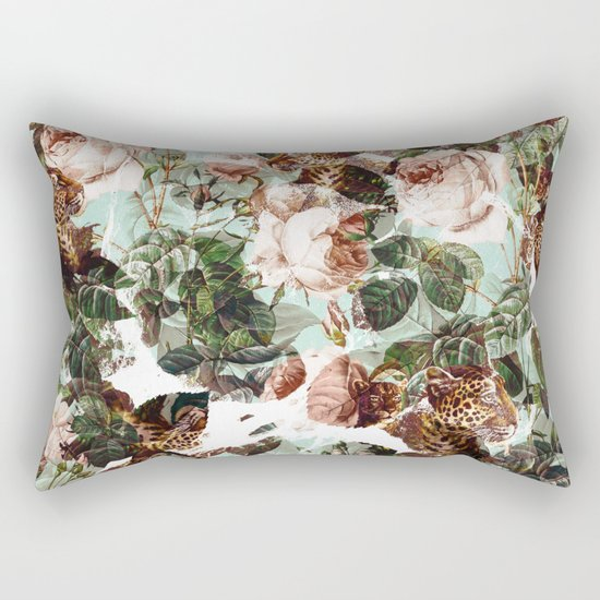 Floral and Leopard Pattern Rectangular Pillow
