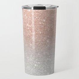 Modern trendy rose gold glitter ombre silver glitter Travel Mug