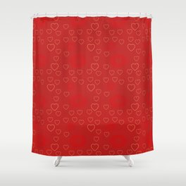 Bright ruby red fancy abstract love style pattern with fine golden hearts and bubbles Shower Curtain