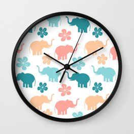 cute colorful pattern with elephants and flowers Wall Clock