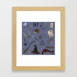 Wizard School Pattern Framed Art Print