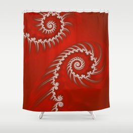 Red and White Striped Swirl - Fractal Art Shower Curtain