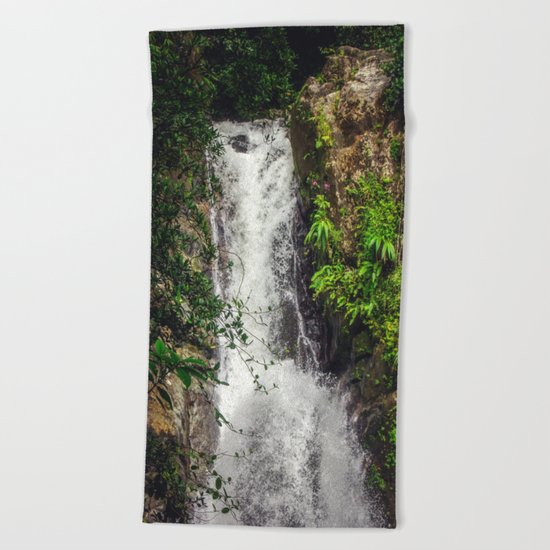 Rainforest Waterfall Beach Towel