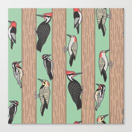 Woodpeckers Pecking Canvas Print