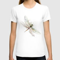 dragonfly MEDIUM Womens Fitted Tee White
