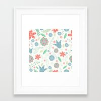 floral pattern Framed Art Prints featuring Floral pattern by Julia Badeeva