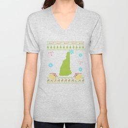 New Hampshire Christmas Ugly Shirt Unisex V-Neck