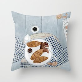 Croissants With Cherry Jam Throw Pillow