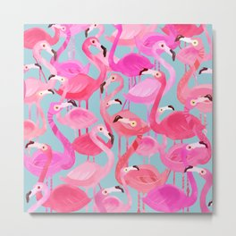 Flamingo pattern grey Metal Print
