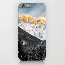 Last light of sunset on Slovenian Alps iPhone Case