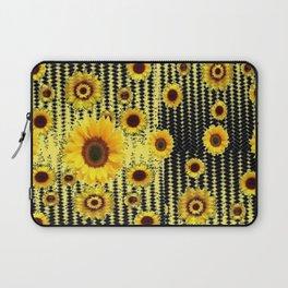 YELLOW ART DECO SUNFLOWERS BLACK ABSTRACT DESIGN Laptop Sleeve