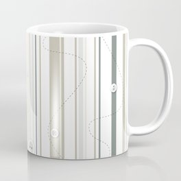 sewing lines and buttons  - grey and beige Coffee Mug