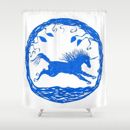 Blue Unicorn 02 Shower Curtain