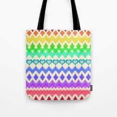 Ikat Pattern in Rainbow Colors on Cream Tote Bag