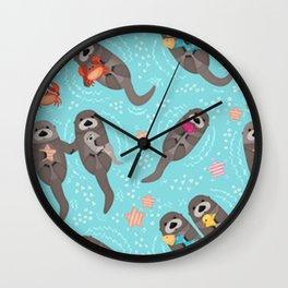 Otters Playing Aquamarine Wall Clock
