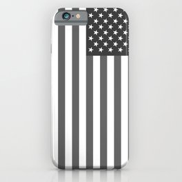 American flag in Gray scale iPhone Case