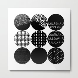 Swatch, Black and White Metal Print