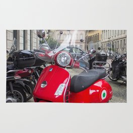 Red Vespa in Milan, Italy Rug