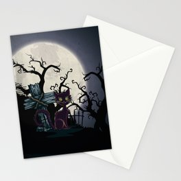 Vintage Halloween Cemetery Cat Stationery Cards