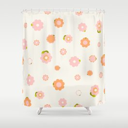 Sweet pink and orange flowers over beige Shower Curtain