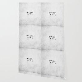 World Map - Hammered Metallic Monochrome Wallpaper