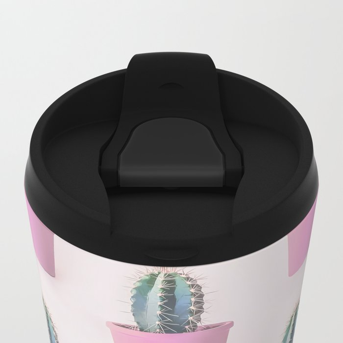 Single Cactus Pot in soft pastel Colors Metal Travel Mug