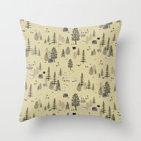 forrest Throw Pillows featuring Forrest Pattern by Mai Ly Degnan