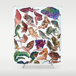 Reverse Mermaids Shower Curtain