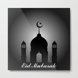 Mosque dome and minaret silhouette with Eid Mubarak Metal Print