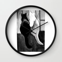Black and White Cats Wall Clock
