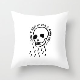 ink black and white skull illustration typography Throw Pillow