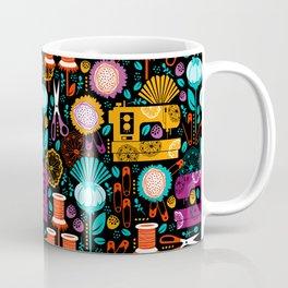 Garden of Sewing Supplies - Black Coffee Mug
