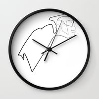 quibe Wall Clocks featuring One line Rocketeer by quibe