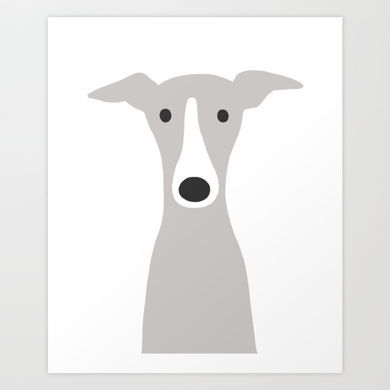 Cute Greyhound Italian Greyhound Or Whippet Cartoon Dog Art Print