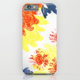 red and blue dahlias with gerberas iPhone Case