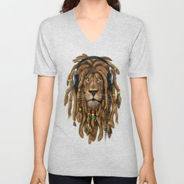 Lion Dreadlocks Rastafari T-Shirt & accessories Unisex V-Neck