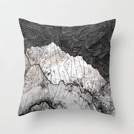 The rocky crosshatch mountains Throw Pillow