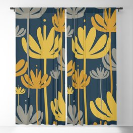 Bali Flowers Floral Pattern in Mustard, Gray, and Navy Blue Blackout Curtain