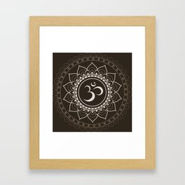 Espresso Brown Om Mandala Framed Art Print